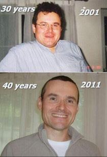 Zehn Jahre und fast 40kg liegen zwischen den beiden Bildern