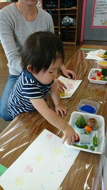 10月の五感イベント『野菜スタンプ』