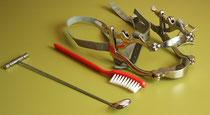Werkzeuge zur Pferdezahnbehandlung: Spiegel, Bürste, Maulgatter