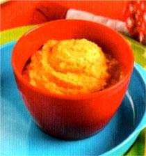 Saumon avec des patates douces et des courgettes