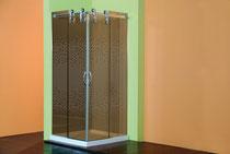 Mampara ducha vidrio bronce serigrafiado