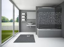 Vidrio serigrafiado Retro para mamparas de baño
