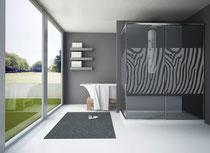 Fotografía de mampara de ducha con serigrafía Cebra