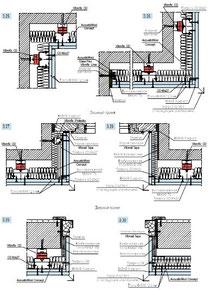 Пример исполнения звукоизоляционных узлов на примыканиях к дверям, окнам