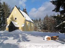 St- Nikolauskirche bei Mähring im Winter