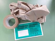 Papierklebeband, Papierfüllmaterial und Papierlieferscheintaschen sind uns wichtig beim Versand 😍