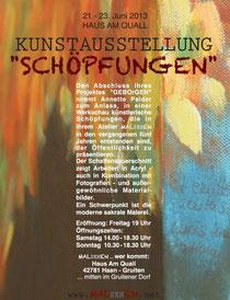 Kunstausstellung SCHÖPFUNGEN der bildenden Künstlerin Annette Palder im Haus Am Quall in Gruiten bei Düsseldorf