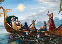 Sri Sri Radha Krishna und Gefährtinnen