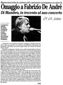 Recensione al concerto in omaggio a Fabrizio De André di Giovanni Di Mambro tenuto il 27 marzo 2000