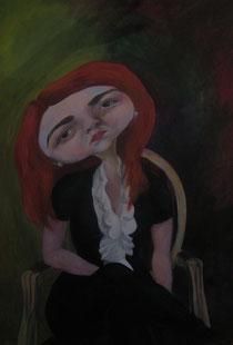 Mathilde Lotteau autoportrait acrylique