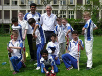 Some of the Under 11 group with Hampshire's Chris Wheeler