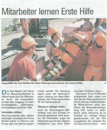 Zeitungsbericht Urner Zeitung vom 21.10.2010
