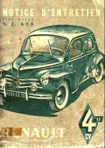 Notice d'entretien 4CV Renault 1954