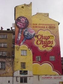 Peinture murale à Sofia, la capitale de la Bulgarie.