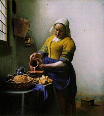 Johannes Vermeer, La Laitière, huile sur toile, 45x40cm, vers 1658-1661.
