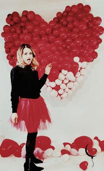 cuore palloncini san valentino allestimento ragazza servizio fotografico