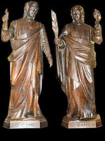 Statue de Saint Côme et Saint Damien Eglise de Roncey Manche 50