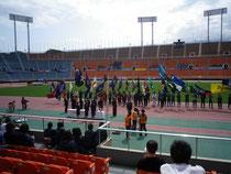 各大学の団旗が集まっています・・・