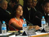 Sherlina Nageer, activista y representante de la Sociedad de Guyana, en su discurso en nombre de la Coalición