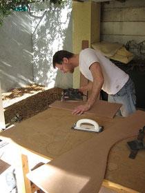 Lars busy sanding