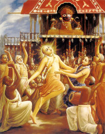 Lord Sri Caitanya Mahaprabhu -the father of Hare Krishna movement dancing in front of Jagganatha Diety