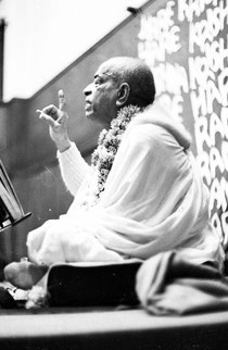 His Divine Grace A.C.Bhaktivedanta Swami Prabhupada giving a class in England