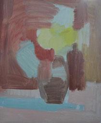 庭のバラ 8号   油彩の下塗り