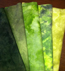 Collection of green hand-dyed wool