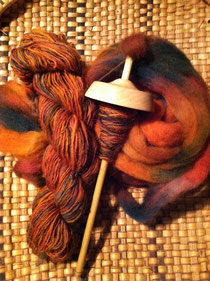 Drop spindle spinning hand-dyed domestic wool top from Earth Guild in Asheville NC
