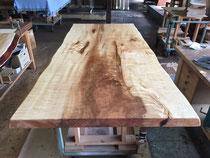 トチ 一枚板 テーブル天板 縮み杢