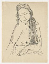 Sitzender Mädchenhalbakt mit langem Haar, 1922