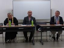 左より谷所長、宮本議長、濱田会長