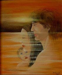 Tramonto con coppia e bambino
