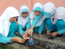 Children making liquid fertilizer