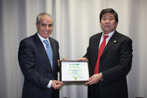 Mr. Djoghlaf Exceutive Secretary CBD and Mr. Nagaishi Secretary Central of OISCA