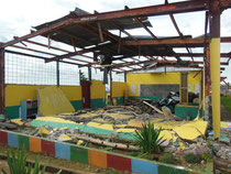 the school which were fully damaged by the typhoon (the Philippines / Leyte Island)