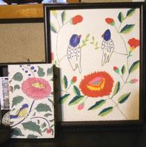 『道草』(右)とベラルーシのバーバの刺繍のスケッチ