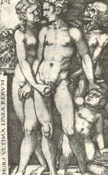Liebespaar mit Cupido und Tod