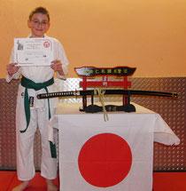 Grüner Drache - Jiu-Jitsu Dragon Robin nach bestandener Grün-Gurt-Prüfung
