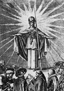 Die aufgeklärte Weisheit als Minerva schützt die Gläubigen aller Religionen, Daniel Chodowiecki, 1791