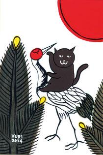 「花札シリーズ 猫鶴」年賀状  アクリル、水彩紙