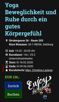 Yoga mit mir, ab 18.2.20 VHS Salzburg!