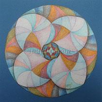 """Whirling"",23*23cm bristol board, color pencils, 1999"