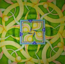 「流」 50*50 cm 彩色鉛筆、水彩、水彩紙 2009