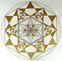 """The Play of Geometry"", 37*37cm art paper, oil pens & color pencils, 2010"