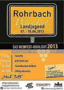 """Weinfestprogramm Landjugend Rohrbach """"Hof 38"""" Weingut Neuspergerhof"""