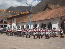 Die Blaskapelle Ququijanas, die mindestens 6 Stunden am Stück gespielt hat