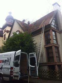 Die Industriekletterer der Firma Proseil hatten ein Heimspiel bei dem Job in Heidelberg.