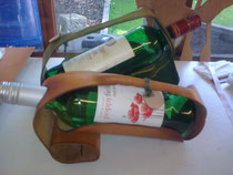 Wine Bottle Holder, Leather, Hand-made