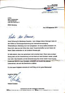 Glückwünsche vom Landrat Hr. Herbert Eckstein